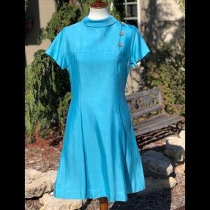 Vintage Carol Brent robin egg blue dress appro 6-8